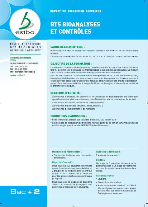 BTS Bioanalyses et Contrôles - ESTBA - BTS BIOAC