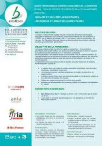 Qualité, Sécurité, Recherche et Analyses Alimentaires - ESTBA
